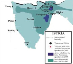 Fig. 1. Areas inhabited today by Istro-Romanian speakers