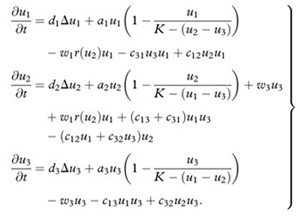 andler's model: These partial differential equations each correspond to a group of speakers: English, Gaelic, and bilinguals. The variables stand for aspects of the social situation; c12 and c32, for instance, are the likelihood that bilingual speakers will become monolingual